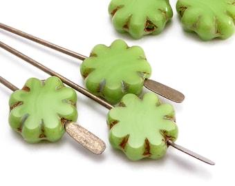Green Flower Czech Glass Beads, (10 pcs) 9mm Flower Beads, FLW0517