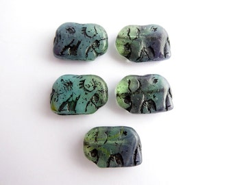 Blue Green Elephant Czech Glass Beads, (5 pcs) 19x14mm Elephant Beads, Glass Statement Beads, Elephant Beads, Animal Beads ANM0005