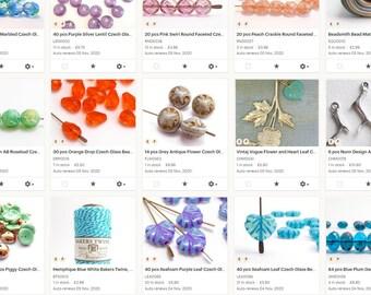 Closing Down Sale - Czech Glass Beads, Charms, Hemp Cord, Jewellery Making