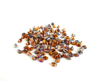 Magic Copper Pinch Czech Glass Beads, (5 gr) 5x3mm Pinch Beads, Metallic Pinch Beads, Seed Beads, Copper Seed Beads, Rainbow Beads PIN0004