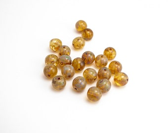 Picasso Round Czech Glass Beads, (30 pcs) 10mm Round Beads, Picasso Beads, Pressed Glass, Brown Round Beads, Brown Glass Beads RND0235