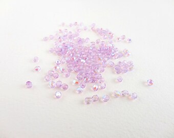 Lavender AB Round Faceted Czech Glass Beads, (60 pcs) 4mm Round Beads, Lavender Beads, Purple AB, AB Beads, Small Lavender Beads RND0132