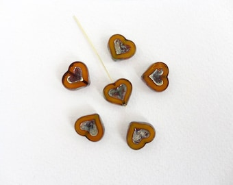 Mustard Picasso Heart Czech Glass Beads, (4 pcs) 14x12mm Heart Beads, Mustard Czech Beads, Heart Beads, Table Cut, Orange Heart Bead HRT0017
