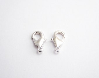 2 x 15mm Sterling Silver Plate Lobster Clasps , Nunn Design Clasps, Silver Plate Lobster Clasp, 15mm Clasps CLP0015