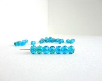 Blue Green Rondelle Czech Glass Beads, (10 pcs) 6x8mm Rondelle Beads, Green Puffy Rondelles, Gemstone Donut, Blue Rondelle Beads GMD0103