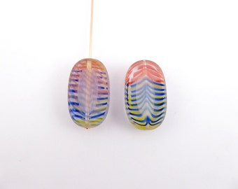 4 x Blue, Red and Yellow Oval Czech Glass Beads, Large Oval Beads, Oval Glass Beads, 20x13mm OVA0031