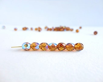 Amber Stripe Vitrail Round Faceted Czech Glass Beads, (30 pcs) 6mm Round Beads, Rainbow Round Beads, Vitrail Czech Beads, AB Beads RND0130