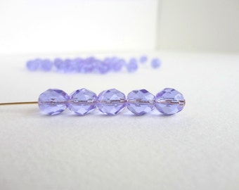 Purple Round Faceted Czech Glass Beads, (10 pcs) 8mm Round Beads, Lilac Glass Beads, Lilac Round Beads, Purple Round Beads RND0072