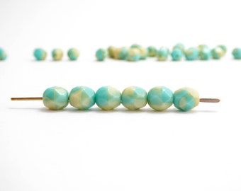 Cream Turquoise Round Faceted Czech Glass Beads, (40 pcs) 6mm Round Beads, Turquoise Round Beads, Cream Round Beads, Faceted Beads RND0211