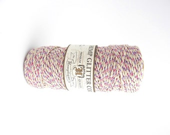 36m x Pink, Purple & Natural Hemp Glitter Cord, Hemptique Cord, Natural Hemp Cord, Metallic Hemp Cord HMS0048