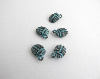 5 x 10mm Mykonos Patina Ladybug Ladybird Charms, Patina Findings, Patina Charms, Mykonos Charms, Ladybird Charms, Ladybug Charms CHM0056