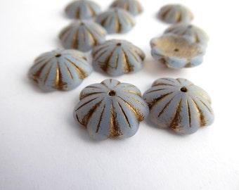 Lavender Flower Czech Glass Beads, (6 pcs) 14x4mm Flower Beads, FLW0270