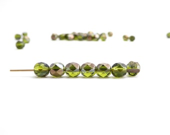 30 x 6mm Green bronze Round Faceted Czech Glass Beads, Green Round Glass Beads, Bronze Round Glass Beads RND0199