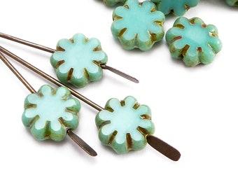 9mm Turquoise Flower Czech Glass Beads, (10 pcs)