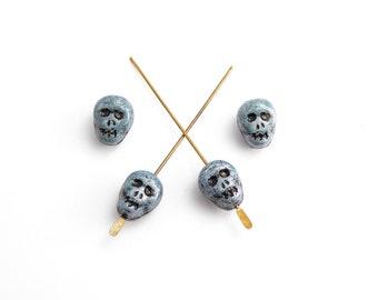 Blue Skull Glass Czech Glass Beads, (8 pcs) 12x9mm Skull Beads, Blue Skull Beads, Czech Skull Beads, Glass Skull, Halloween Beads SKL0001