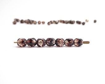 Marbled Brown Round Faceted Czech Glass Beads, (60 pcs) 6mm Brown Round Faceted Beads, Brown Round Beads RND0221