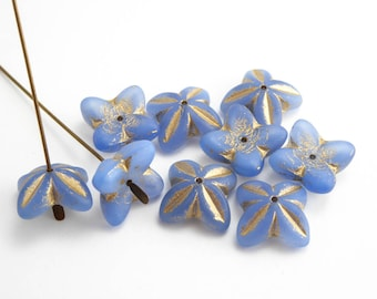 Periwinkle Blue Bell Flower Czech Glass Beads, (6pcs) 16x6mm Flower Beads, Bell Flower Beads, Periwinkle Flower Beads, Glass Flower FLW0367