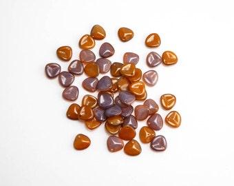 Funky Copper Rose Petal Czech Glass Beads, (60pcs) Funky Copper Rose Petal Beads, Orange Petal Beads, Purple Petal Beads PET0018