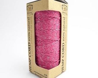 Pink Silver Hemp Cord, 62.5m Hemptique Cord, Pink Hemp Cord, Metallic Hemp Cord, Pink Hemptique Cord, Pink Macrame Cord HMS0057