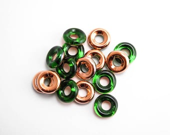 Dark Green Capri Gold Ring Czech Glass Beads, (10pcs) 10mm Glass Ring Beads, Chrysolite Ring Bead, Emerald Green, Green Ring Beads GLR0015