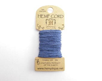 Blue Hemp Cord 1mm Mini, 6m Hemptique Cord, Blue Hemptique Cord, Blue Macrame Cord, Blue Bracelet Cord HMC0087