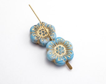 18mm Decorative Light Blue Flower Czech Glass Beads, (2 pcs)