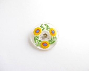 Flower Czech Glass Button, 32mm Czech Button Hand Painted Button BUT0013