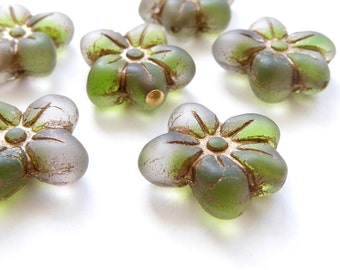 Green Puffy Daisy Flower Czech Glass Beads, (6 pcs) 14x13mm Flower Beads, Bronze Flower Beads, Daisy Flower Beads, Puffy Flower Bead FLW0126