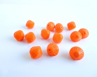 Orange Lantern Czech Glass Beads, (10 pcs) 11mm Lantern Beads, Orange Lantern Beads, Rondelle Beads, Glass Lantern Beads LAN0002