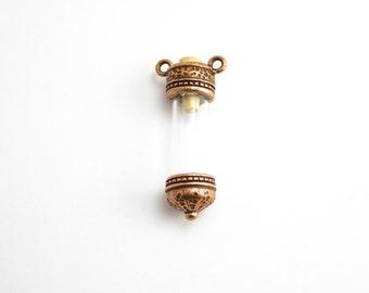 1 x Antique Copper Keepsake Bottle Pendant, Keepsake Charm, Bottle Charm, Bottle Pendant, Glass Jar Charm, Copper Bottle CHM0123