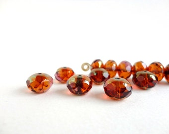 Amber Luster Rondelle Czech Glass Beads, (6 pcs) 7x11mm Rondelle Beads, Amber Gemstone Donut, Amber Rondelle Beads, Gold Luster GMD0143