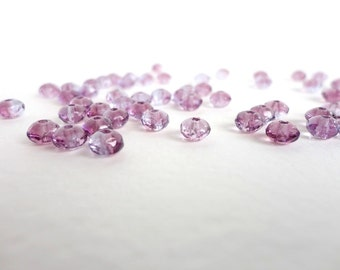 60 x 3x5mm Purple Czech Glass Beads, Purple Gemstone Donut Beads, Purple Faceted Beads GMD0050