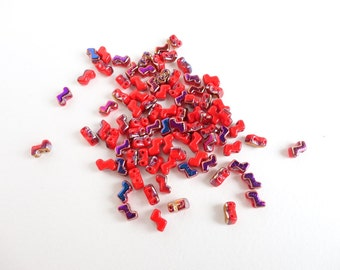 Red Vitrail Zorro Czech Glass Beads, (40 pcs) 5x6mm Zorro Beads, Red Double Hole Beads, 2 Hole Beads, Red Seed Beads. Vitrail Beads ZOR0004