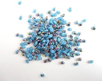 Blue Vitrail Superduo Czech Glass Beads, (10gr) 2.5x5mm Superduo Beads, 2 holed Beads, Rainbow Glass Beads, Vitrail Beads, Blue Bead SPD0007