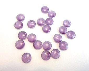 Purple Silver Lentil Czech Glass Beads, (20 pcs) 12mm Lentil Beads, Disc Beads, Coin Beads, Purple Disc, Purple Lentil, Silver Rain LEN0002