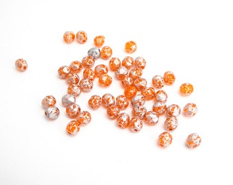 Orange Silver Round Faceted Czech Glass Beads, (50 pcs) 4mm Round Beads, Silver Orange Beads, Orange Round Beads, Small Orange Beads RND0309