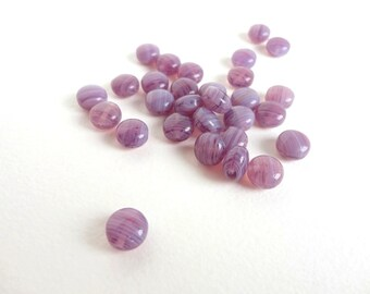 Purple Marbled Puffy Disc Czech Glass Beads, (20 pcs) 9x6mm Circle Beads, Purple Coin Beads, Purple Disc Beads, Coin Beads CIR0001