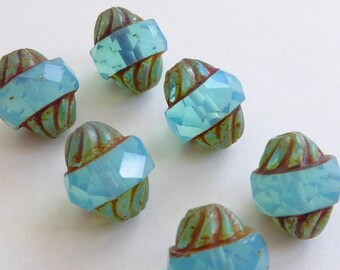 Turquoise Turbine Czech Glass Beads, (6 pcs) 11x10mm Turbine Beads, Fire Polished Beads, Picasso Beads, Blue Turbine Beads, Faceted TUR0003