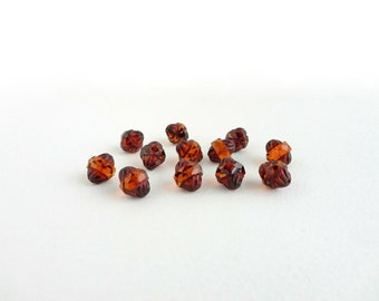 Amber Picasso Turbine Czech Glass Beads, (10 pcs) 11x10mm Turbine Beads, Picasso Beads, Amber Turbine Beads, Amber Glass Beads TUR0004