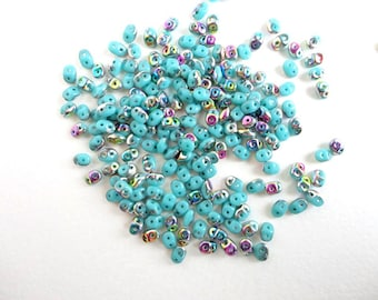 Turquoise Vitrail Superduo Czech Glass Beads, (10gr) 2.5x5mm Superduo Beads, Turquoise Seed Beads, 2 holed Beads, Vitrail Glass Bead SPD0008