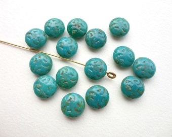 Teal Picasso Fruit Stone Czech Glass Beads, (4 pcs) 14mm Fruit Stone Beads, Teal Coin Beads, Picasso Beads, Stone Beads, Teal Beads CON0010