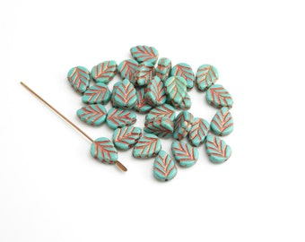 Turquoise Copper Leaf Czech Glass Beads, (10 pcs) 11x8mm Leaf Czech Glass Beads, Green Leaf Beads, Copper Leaf Beads, Green Beads LEA0034