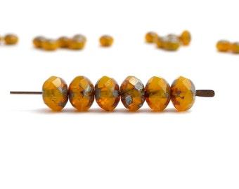Burnt Orange Gemstone Donut Czech Glass Beads, (20 pcs) 6x8mm Rondelle Beads, Orange Beads, Orange Faceted Beads, Picasso Beads GMD0160