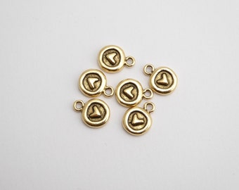 2 x Antique Gold Round Heart Charms 12.6 x 9.7 x 2.6mm, Heart Charms, Gold Heart Charms, Round Heart Charms, Nunn Design Charms CHM0100