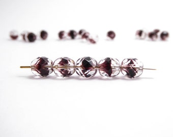 Clear Plum Round Faceted Czech Glass Beads, (30pc) 8mm Round Beads, Fire Polished Beads, Purple Beads, Clear Beads, Plum Beads RND0299