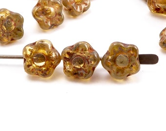 7mm Picasso Flower Czech Glass Beads, (30 pcs)