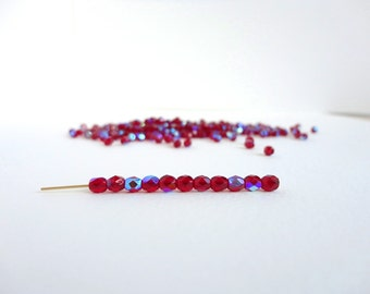 Siam Ruby AB Round Faceted Czech Glass Beads, (60 pcs) 4mm Round Beads, Red AB, Ruby Round Beads, Red Round Beads, Faceted Beads RND0166