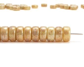 3x6mm Cream Luster Rondelle Czech Glass Beads, (60 pcs)