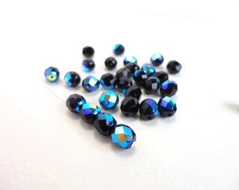Black Vitrail Round Faceted Czech Glass Beads, (30 pcs) 8mm Round Beads, Round Faceted Beads, Fire Polished Beads, Black AB Beads RND0024