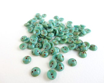 Green Picasso Piggy Czech Glass Beads, (60 pcs) 4x8mm Piggy Beads, Picasso Beads, Green Piggy Beads, Green Dome Beads, Bead Weaving PIG0012